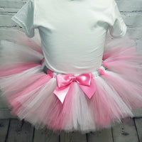 Pink and Gray Tulle Tutu Skirt