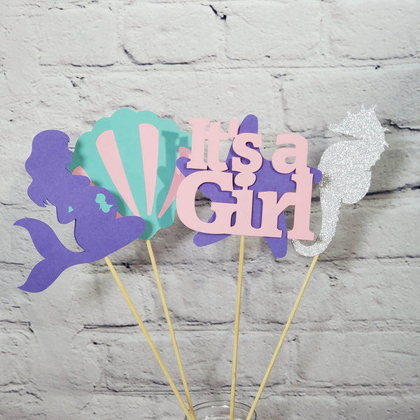 Pregnant Mermaid Baby Shower Centerpiece Stick Set