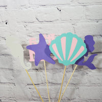 Pregnant Mermaid Centerpiece Sticks - Pink, Lavender Aqua