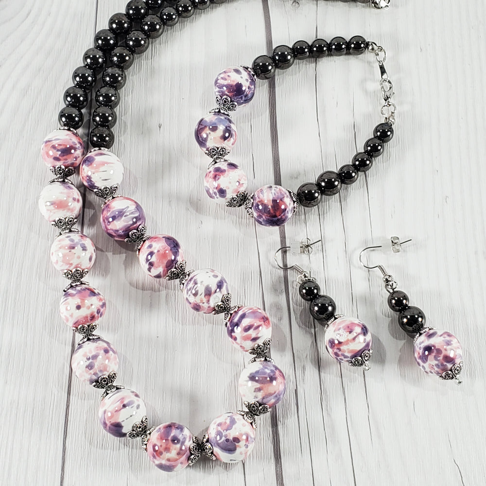 Pink, Purple, Gray Glass Bead Fashion Jewelry Set