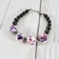 Pink, Purple, Gray Glass Bead Jewelry Set