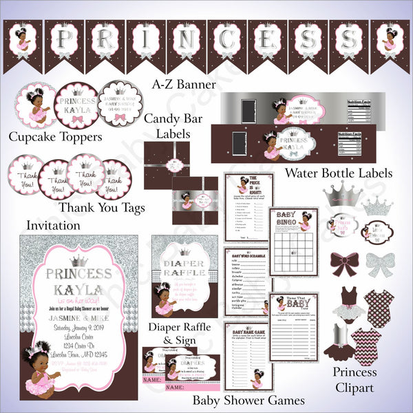 Brown and Silver Little Princess Baby Shower Decoration Pack