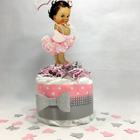 Baby Girl Diaper Cake Centerpiece - Pink, Silver