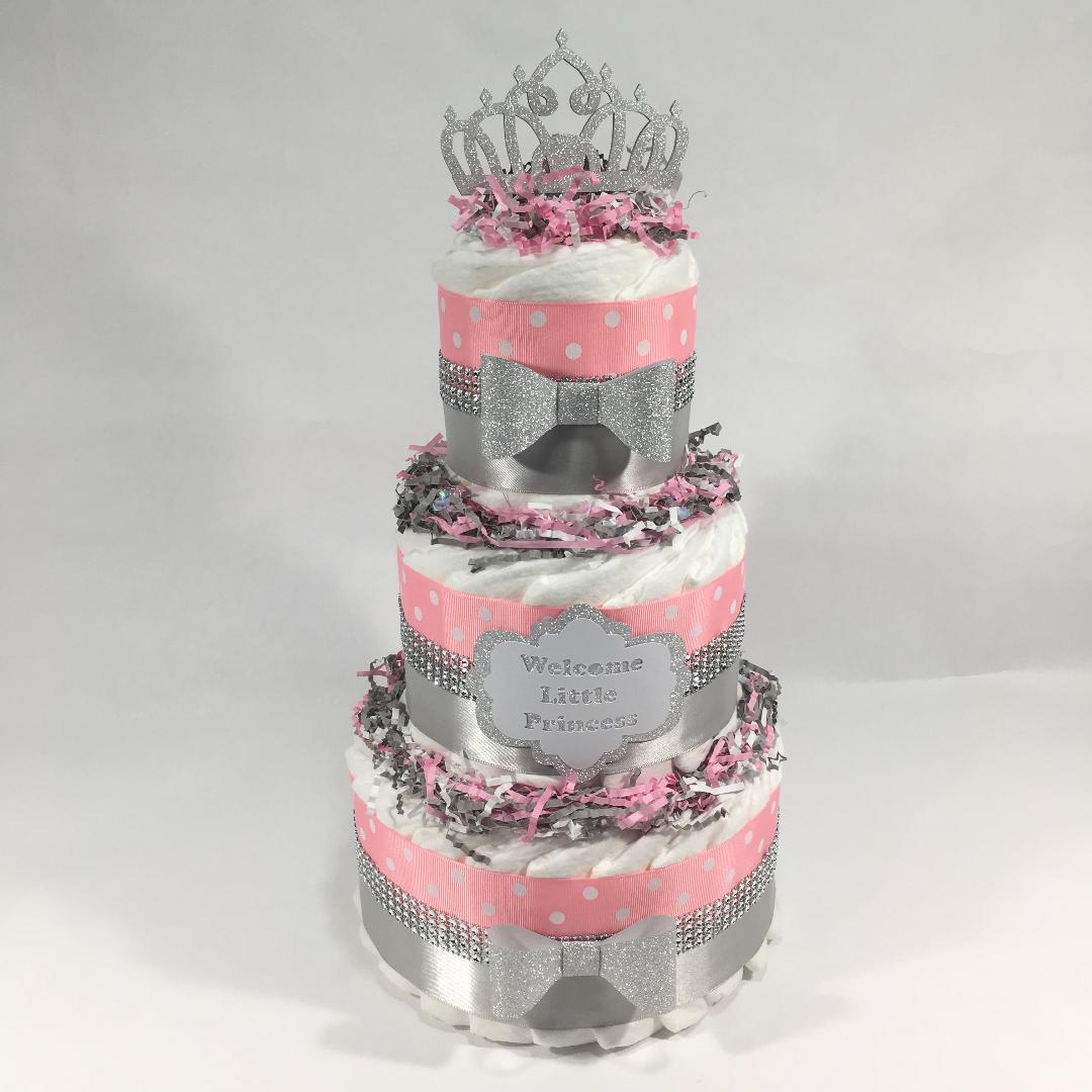 Welcome Princess Diaper Cake - Pink, SIlver