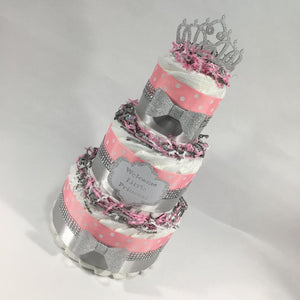 Pink & Silver Princess Baby Shower Diaper Cake Centerpiece