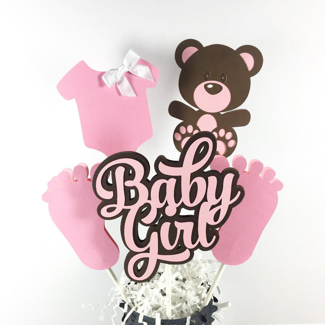 Baby Bear Girl Centerpiece Sticks