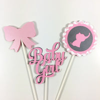 Pink & Gray Elephant Centerpiece Sticks