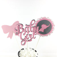 Pink & Gray Baby Girl Elephant Centerpiece Sticks