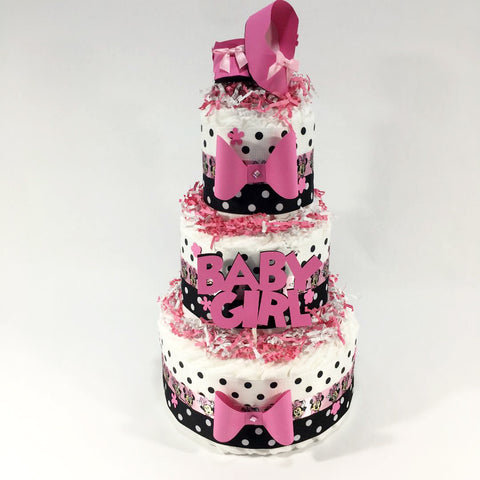 Pink & Black Girl Diaper Cake Centerpiece