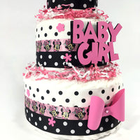 Pink & Black Minnie Mouse Diaper Cake