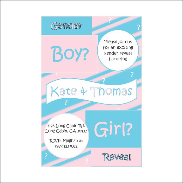 Printable Gender Reveal Party Invitation Chic Baby Cakes