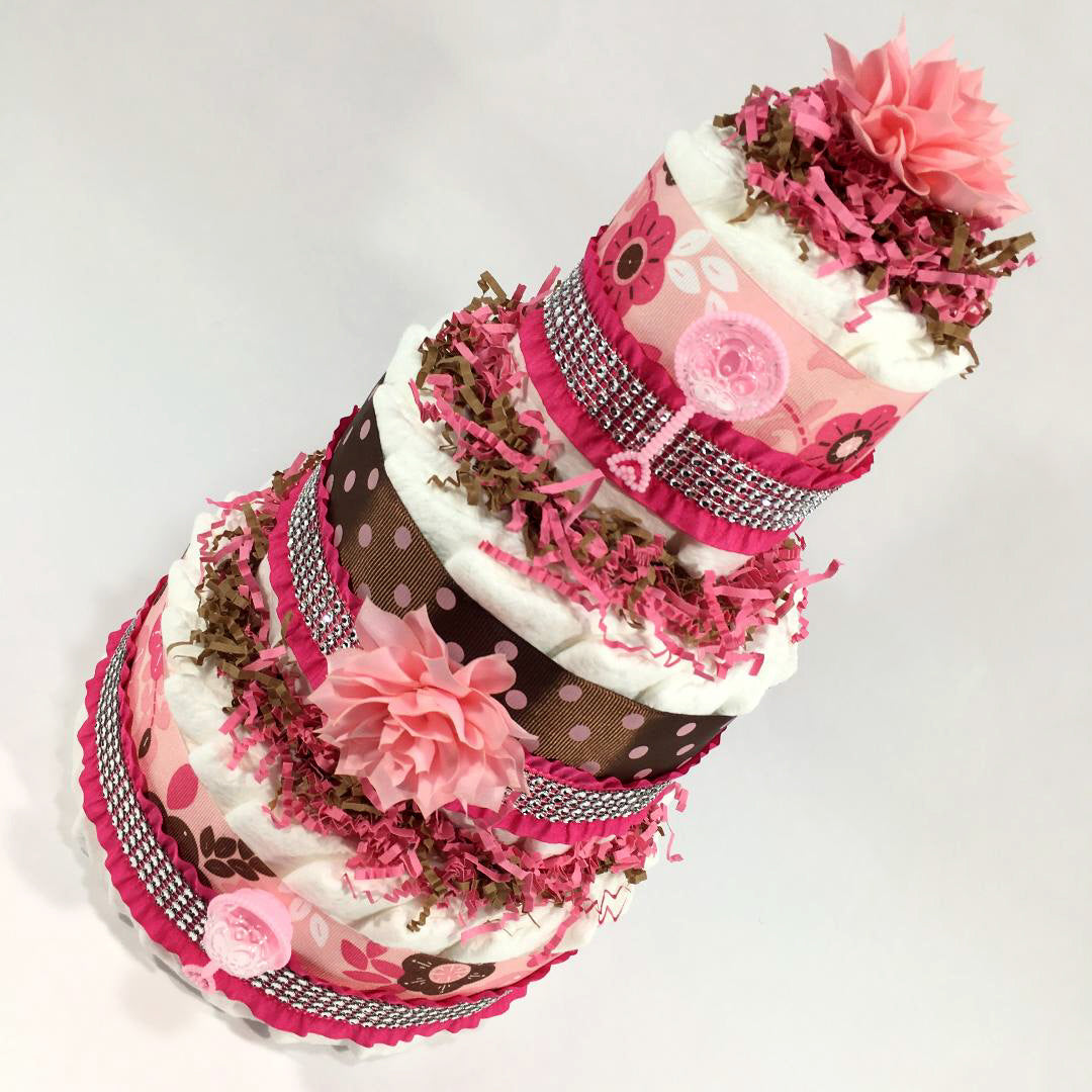 Pink Brown Flowers Girl Diaper Cake Centerpiece Chic Baby Cakes