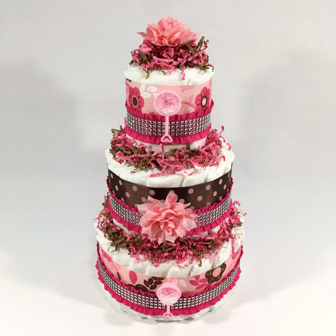 Pink & Brown Flowers Girl Diaper Cake Centerpiece | Chic Baby Cakes