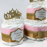 Welcome Little Princess Diaper Cake Set - Pink, Gold