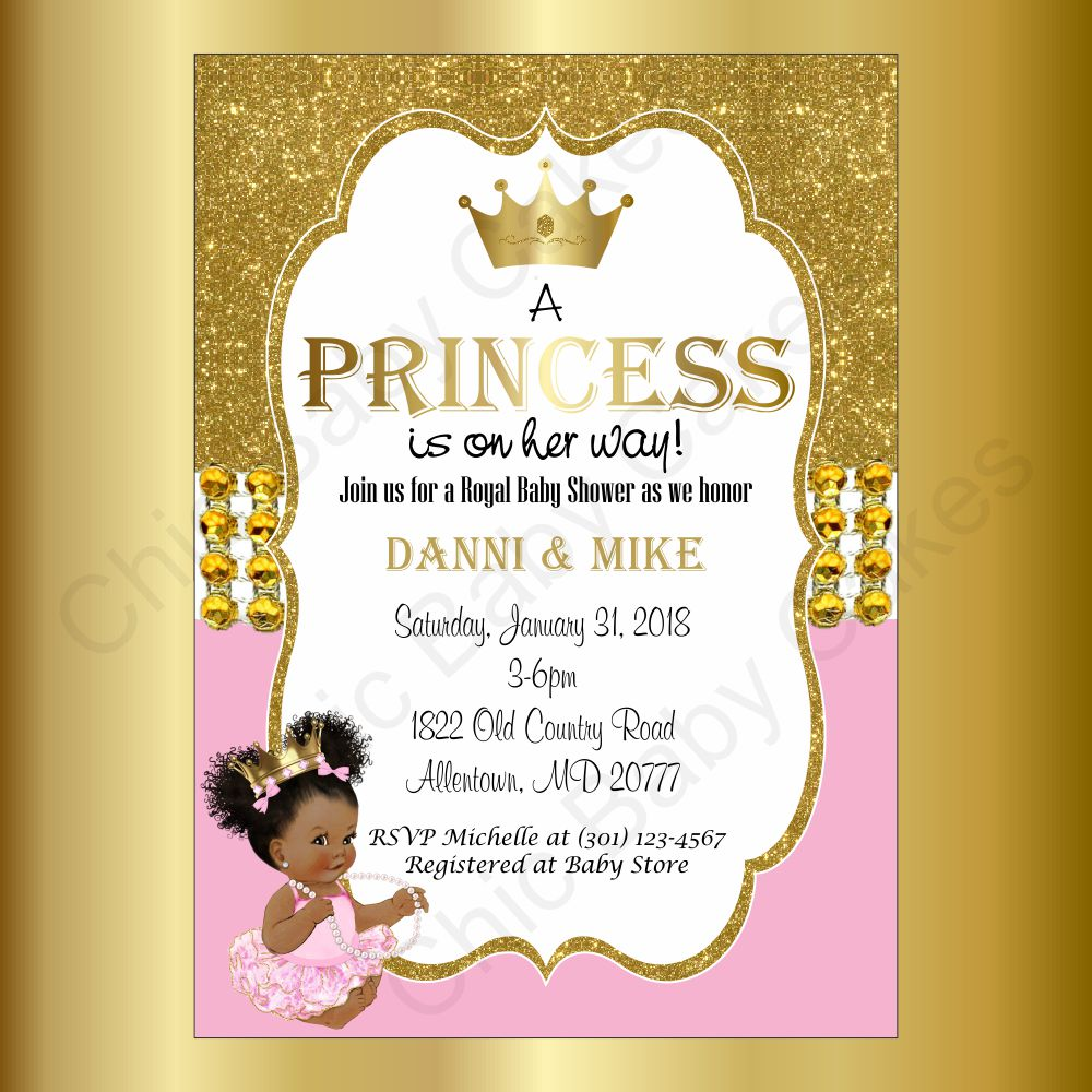 Pink & Gold Little Princess Baby Shower Invitation, Afro