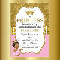 Pink & Gold Little Princess Baby Shower Invitation, Brown