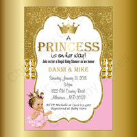 Pink & Gold Little Princess Baby Shower Invitation, Brunette