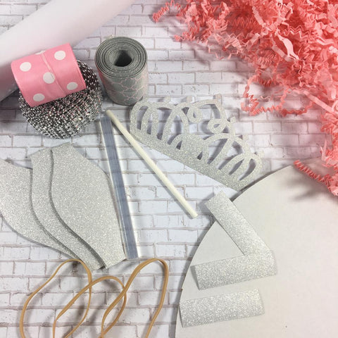 Pink, Gray, & Silver Princess Diaper Cake kit