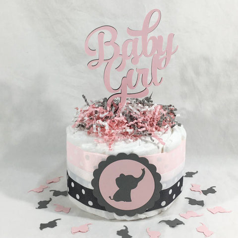 Elephant Girl Diaper Cake Centerpiece - Pink, Gray