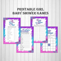 Pink, Blue, & Purple Girl Baby Shower Games