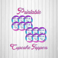 Pink, Blue, & Purple Girl Baby Shower Cupcake Toppers