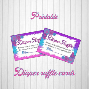 Pink, Blue, & Purple Girl Baby Shower Diaper Raffle Tickets