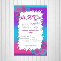 Pink, Blue, & Purple Girl Baby Shower Invitation
