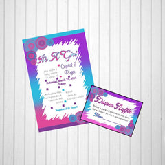 Printable It's A Girl Invitation & Diaper Raffle - Cotton Candy