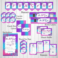 Pink, Blue, & Purple Girl Baby Shower Decoration Pack