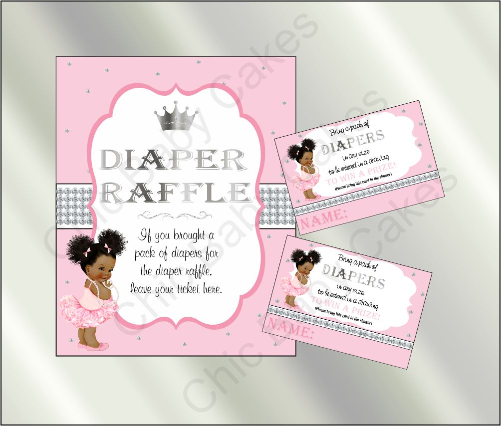 Princess Baby Shower Invite And Diaper Raffle Pink Silver Afro