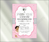 Pink & Silver Little Princess Baby Shower Invitation, Brown
