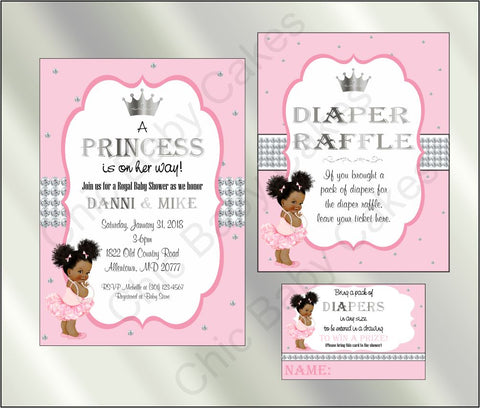 Princess Baby Shower Invite and Diaper Raffle, Pink & Silver, Afro