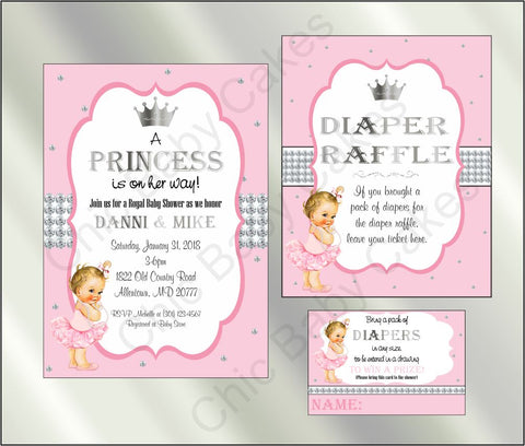 Princess Baby Shower Invite and Diaper Raffle, Pink & Silver, Blonde