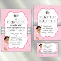 Pink & Silver Little Princess Baby Shower Invite Set, Brown