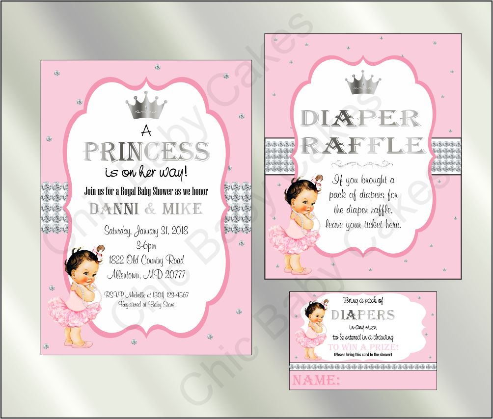 Princess Baby Shower Invite and Diaper Raffle, Pink & Silver, Brunette