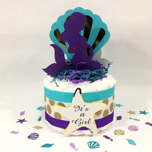 Pregnant Mermaid Small Diaper Cake Centerpiece