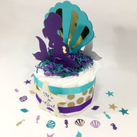 Pregnant Mermaid 1-Tier Diaper Cake Centerpiece