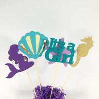 Purple, Teal, & Gold Pregnant Mermaid Centerpiece Sticks