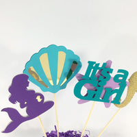 Pregnant Mermaid Baby Shower Centerpiece Sticks - Ready to Ship