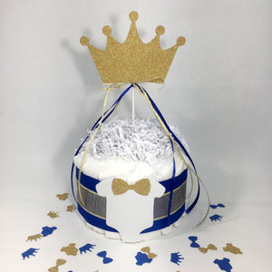 Royal Blue & Gold Prince Diaper Cake Centerpiece