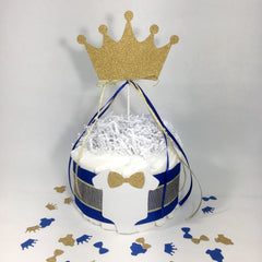 Royal Blue & Gold 1-Tier Prince Diaper Cake Centerpiece