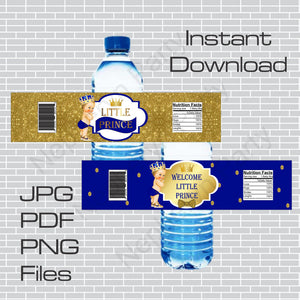Royal Blue and Gold Little Prince Water Bottle Labels, Blonde