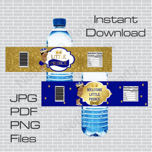 Royal Blue and Gold Little Prince Water Bottle Labels, Curly
