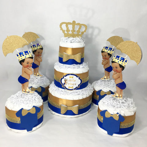 Prince Diaper Cake Centerpiece - Royal Blue, Gold