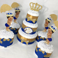 Royal Blue & Gold Little Prince Diaper Cakes