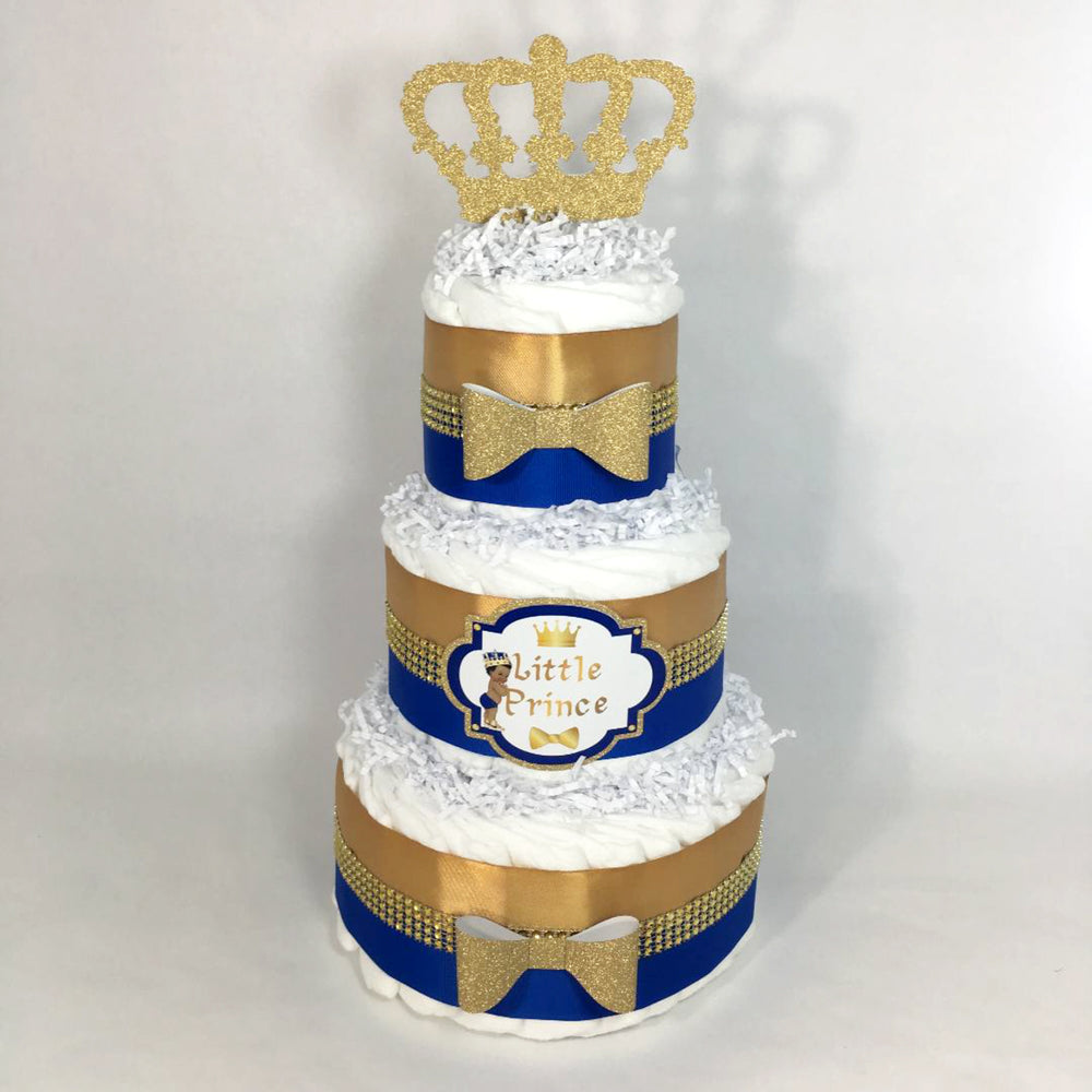 Royal Blue & Gold Prince Baby Shower Diaper Cake
