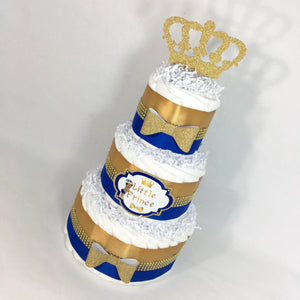 Blue & Gold Royal Prince Diaper Cake Centerpiece