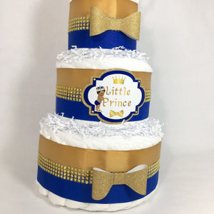 Royal Prince Diaper Cake - Blue, Gold