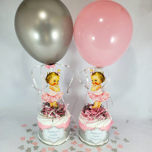 Pink & Silver Little Princess Mini Diaper Cakes, Blonde