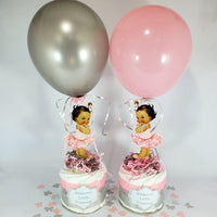 Pink & Silver Little Princess Mini Diaper Cakes, Brown